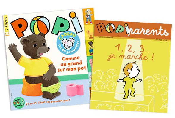 Couverture du magazine Popi n°418, juin 2021, et son supplément pour les parents