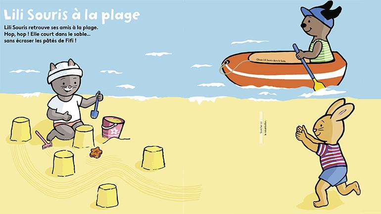"""Lili Souris à la plage"" - Popi, n°419, juillet 2021 - Illustrations : Anett Hardy."