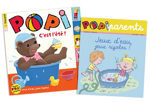 Couverture du magazine Popi n°419, juillet 2021, et son supplément pour les parents