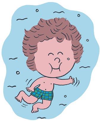 À la piscine. Illustrations : Laure du Faÿ.