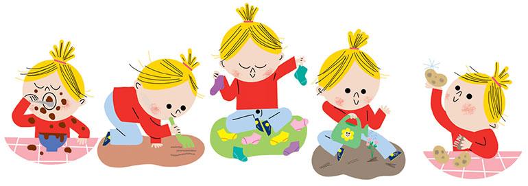 """C'est moi qui fais ! Dès le plus jeune âge, c'est un """"pro"""" du ménage ! Illustrations: Sophie Bouxom."""