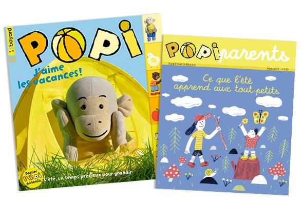 Couverture du magazine Popi n°420, aout 2021, et son supplément pour les parents
