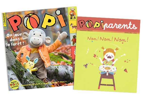 Couverture du magazine Popi n°422, octobre 2021, et son supplément pour les parents